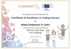 attestato d'eccellenza Code Week 2018